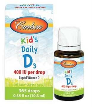 Carlson Kids Daily D3 400 IU Per Drop 10.3ml